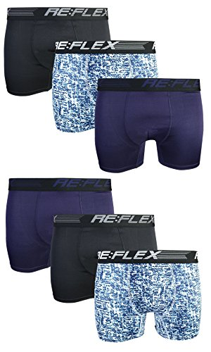 Re:Flex Men's Active Performance Boxer Briefs Underwear (6 Pack) (Large, Black/Blue Pattern)' by Re:Flex