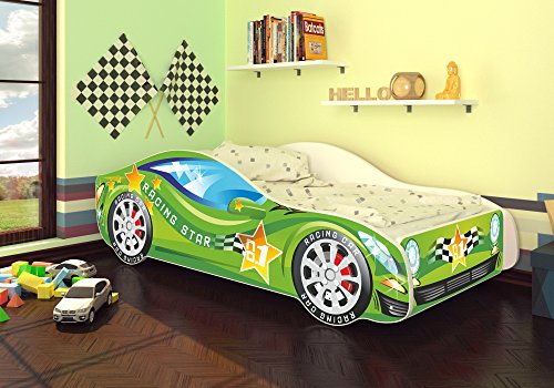 Autobett Kinderbett Bett Auto Car Junior in vier Farben mit Lattenrost und Matratze 70x140 cm Top Angebot! (Grün)