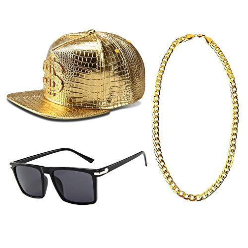 (Icevog Mens 1980s 90s Hip Hop Baseball Cap Snapback Hat Gold Chain Necklace Sunglasses Gangster Costume Accessories)