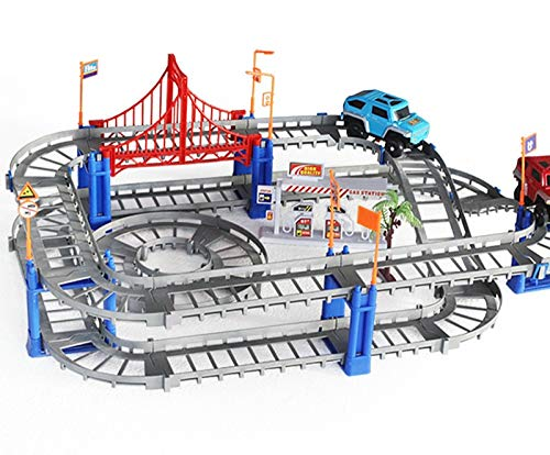 (Magical Railway Road Track Toys DIY Variety Electric Speed Car Train Model Assembly Racing Rail Tracks Car Toy for)