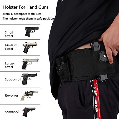 EVISTR Belly Band Gun Holster for Concealed Carry 2 Pocket Waistband Holster for Men and Women, Compatible with Gun Smith, Glock 19, 17, 42, 43, Ruger LCP, and Similar Sized Guns (50Inch, Right)