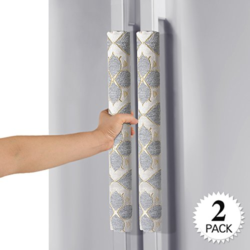 Ougar8 Refrigerator Door Handle Covers Handmade Decor Protector for Ovens, Dishwashers.Keep Your Kitchen Appliance Clean From Smudges, Food Stains (Quatrefoil) (Cover Door Refrigerator)