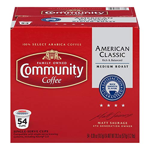 Community Coffee – American Classic Medium Roast – 54Count Single Serve Coffee Pods – Compatible with Keurig 2.0 K Cup Brewers, American Classic, 54Count