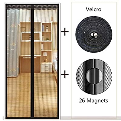 "Magnetic Screen Door, BRIGHTSHOW [Upgraded Version] Screen Door Mesh with Polyester Anti Mosquito Bugs Mesh Curtain, Easy to Install Full Frame Velcro, Fits Door Size up to 36""x83"""