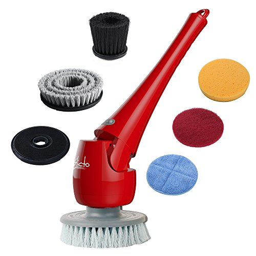 ELICTO ES-100 Electric Scrubber- Cordless Bathroom Scrubber- Multi-Purpose Head Power Scrubber for All Surfaces- Electric Spin Scrubber Patent Design- Cordless Scrubber with 5 Replaceable Heads by Elicto
