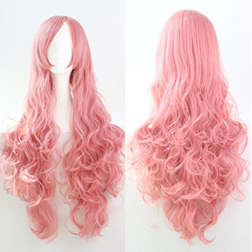 32inch Pink Fluttershy Wig/Anime Wigs and 1 Wig Cap, Vocaloid Luka Megurine Cosplay Costumes Wigs Long Wavy Curly Hair-wig018PK -