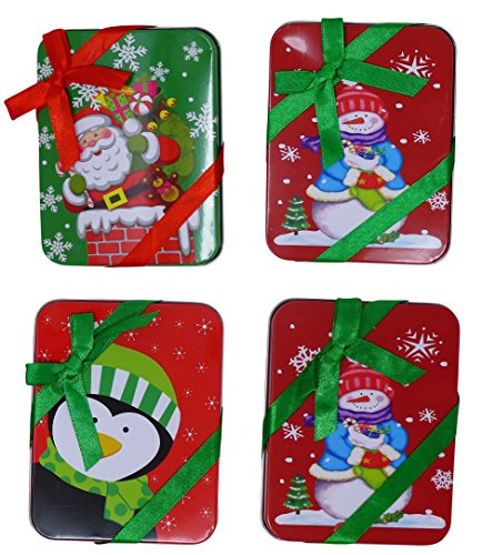 4 Christmas Gift Card Tin Holder With Ribbon (4.5