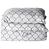 Chic Home 3-Piece Brooklyn Geometric Diamond Printed Reversible Duvet Cover Set, Queen, Grey