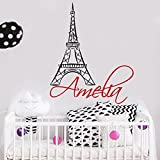 Wall Decal Name. Eiffel Tower Girls Name Decal. Girl Wall Vinyl Sticker Nursery Art Paris Nursery Personalized Name. Nursery Wall Decor F100