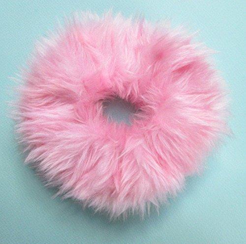 Fluffy Fuzzy Pink Scrunchie Fur Hair Tie Britney Spears Clueless 90s Pastel Goth Hair Tie Large Kawaii Handmade Ponytail Holder Pink Fur Hair Band]()