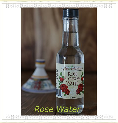 Rose Blossom Water 4 Oz for Culinary Use By Zamouri Spices (Spice Blossom)