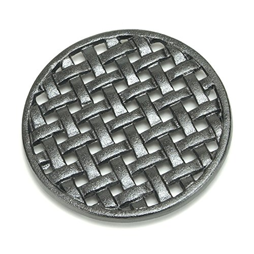 Minuteman International Round Lattice woodstove Tabletop cast Iron Trivet, Black