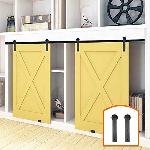 ZEKOO 2.5-8FT New Design Customized Style Interior Super Mini Sliding Barn Door Hardware Black Roller Rails Closet Cupboard Storage Cabinet Kit (4FT, Double Door Kit)