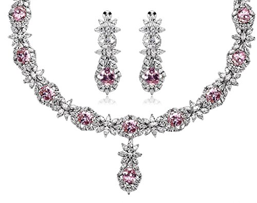 KnSam Women Platinum Plate Flower Leaf Pink Necklace Earrings Set Crystal [Novelty Bridal Jewelry Set] by KnSam