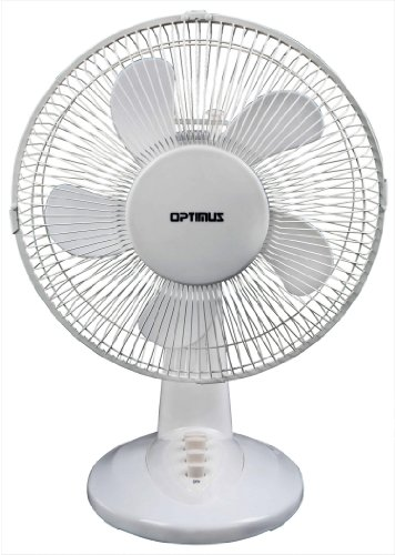 Optimus F-1237 12-Inch Oscillating 3-Speed Table Fan, White