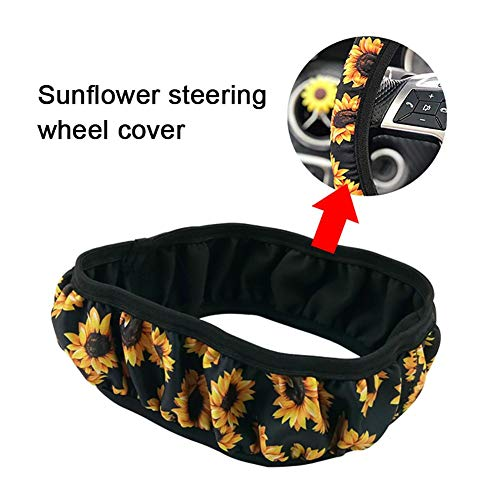 Ksruee Sunflower Car Steering Wheel Cover, Diving Material Four Seasons Set Steering Wheel Cover Universal Handle