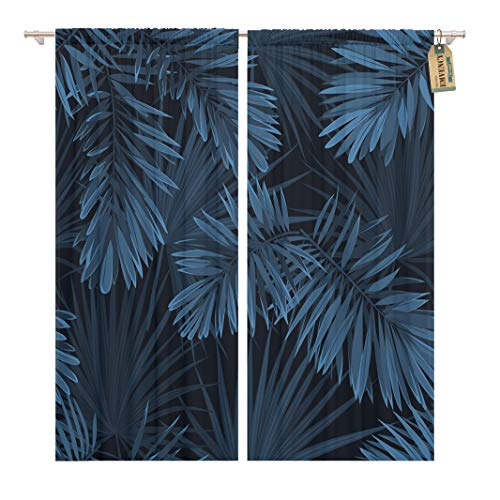 Golee Window Curtain Navy Pattern Blue Indigo Summer Tropical Camouflage Palm Leaves Home Decor Rod Pocket Drapes 2 Panels Curtain 104 x 63 inches