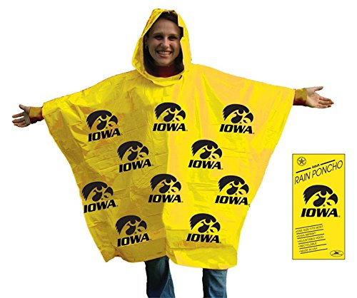 (Storm Duds NCAA Iowa Hawkeyes Rain Poncho, One Size, Yellow)