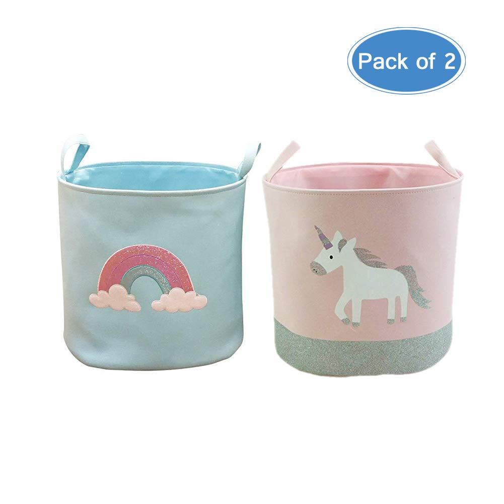 Doitsa 40 x 33 cm 2 cestas para la Colada Color Blanco dise/ño de Unicornio y Arco en Cielo con asa Cesta de Almacenamiento de Tela para Cuarto de ba/ño o Dormitorio