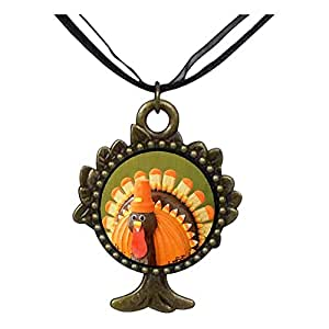 Chicforest Bronze Retro Style Thanksgiving Candy Turkey The Tree Of Life And Wishing Pendant