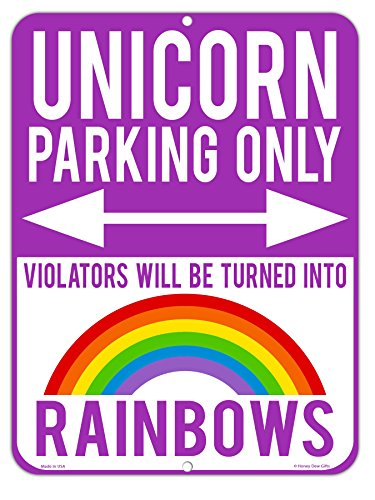 Unicorn Parking Only Violators Will be Turned into Rainbows - Unique Purple 9 x 12 inch Metal Aluminum Novelty Sign Decor for Girls Room or as Funny Gifts - Made in the USA