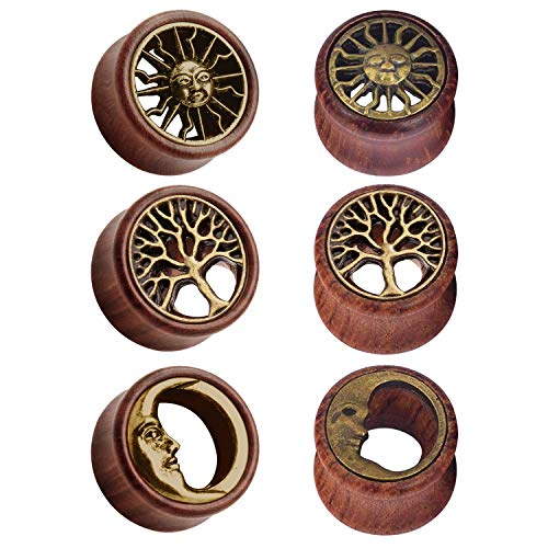 JFORYOU 3 Pairs of Ear Tunnels Brass Tree of Life & Tribal Sun & Moon Natural Wooden Brown Flesh Tunnels Double Flared Ear Stretcher Saddle Plug Gauge 10mm for Women and Men