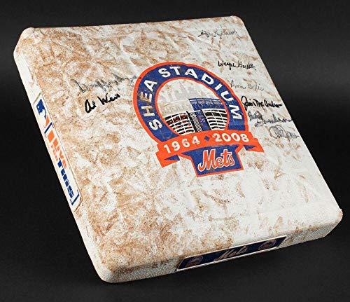 (Bud Harrelson Jones Weiss + Signed Game Used Shea Stadium Final Season Mets Base - MLB Autographed Game Used Bases)