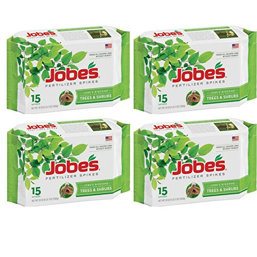 Jobe's Tree Fertilizer Spikes, 16-4-4 Time Release Fertilizer for All Shrubs & Trees, 15 Spikes per Package - 4