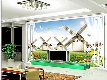 ZLJTYN 270 CmX 180 Cm 3d Wallpaper Benutzerdefinierte Wandbild Fototapete Für  Wohnzimmer Holländische Windmühle Fenster Malerei