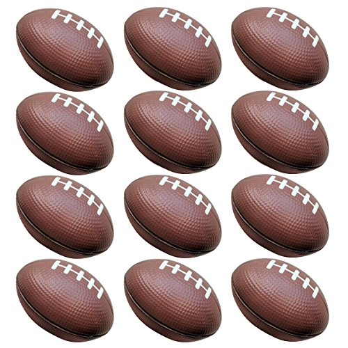 Football Toys for Kids Party Favor 12 Pack Foam Stress Balls American Footballs Rugby Squeeze Sports Ball (All Brown)