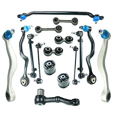 Front Upper Thrust Lower Left Right Control Arms Ball Joints Center Tie Rod Assembly Rear Sway Bar Links Idler Arm Pitman Arm Suspension Kit Fit for BMW E34 525 530 - Subframe E34
