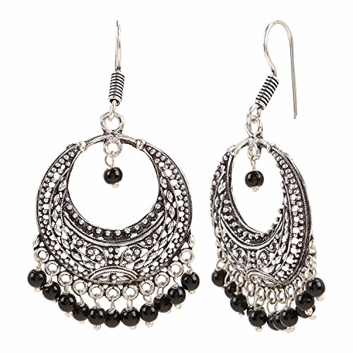 Efulgenz Indian Vintage Retro Ethnic Dangle Gypsy Oxidized Silver Tone Boho Hook Earrings for Girls and Women Love Gift by Efulgenz (Image #1)