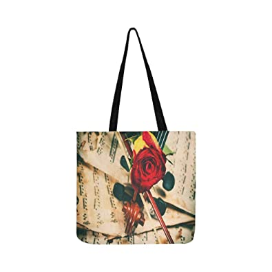 458fdabf64b8d9 Violin Sheet Music And Rose Black Composition Stil Canvas Tote Handbag  Shoulder Bag Crossbody Bags Purses For Men And Women Shopping Tote: Amazon. co.uk: ...