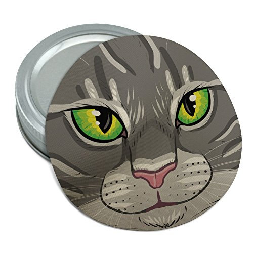 Gray Tabby Cat Face Pet Kitty Round Rubber Non-Slip Jar Gripper Lid Opener