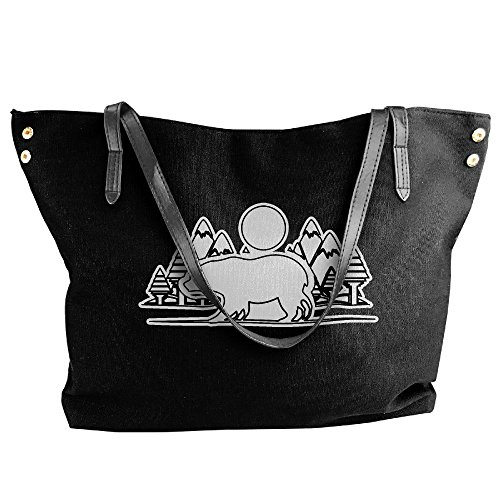 Black Bag Tote Forest Women's Shoulder And Large Handbag Bear Hand Canvas xEwwCZzqv
