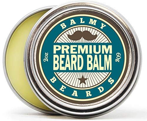 (Balmy Beards Premium Best Beard Balm for Men - all Natural Organic Wax, Butter, Leave in Conditioner and Mustache Softener - Styles, Strengthens and aids Hair Growth)