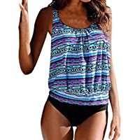 Womens Push Up Padded Plus Size 2 Piece Printed Sporty Tankini Swimsuits With Boy Shorts