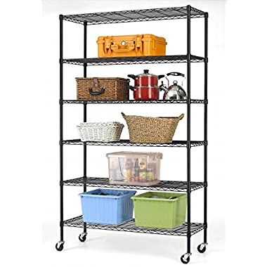 82 x48 x18  Commercial 6 Tier Shelf Adjustable Steel Wire Metal Shelving Rack 76