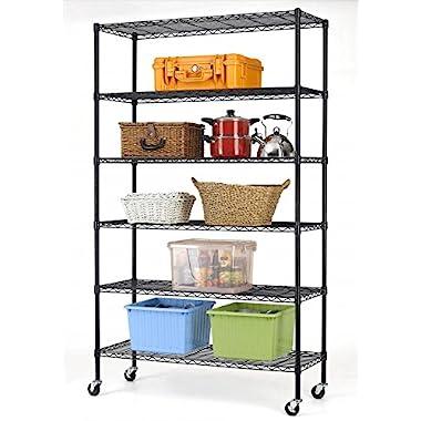 82 x48 x18  Commercial 6 Tier Shelf Adjustable Steel Wire Metal Shelving Rack 76