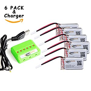 6 Pcs of Keenstone 3.7V 400mAh 25C LiPO Battery w/6-Port Battery Charger for Hubsan X4 (H107,H107C,H107D,H107L,V252,JXD385,F180C) 4 Channel 2.4GHz RC QuadCopter Compatible with Walkera Super CP - 51Mf6Fb5kmL - 6 Pcs of Keenstone 3.7V 400mAh 25C LiPO Battery w/6-Port Battery Charger for Holy Stone HS170 Hubsan X4 (H107,H107C,H107D,H107L,V252,JXD385,F180C),UDI U816A, JJRC H6C,Mini CP,Genius CP, and Camcorder!