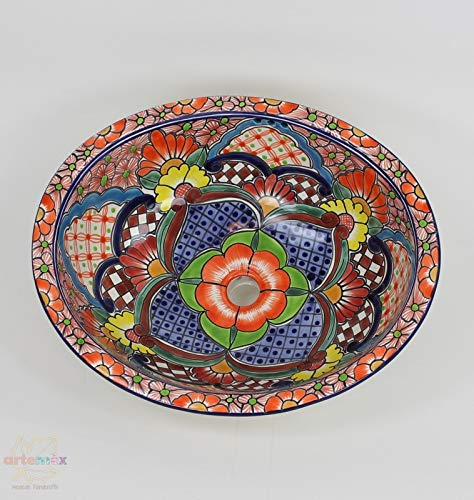 - Talavera Sinks - Mexican Bathroom Sink - Mexican Talavera Sink - Mexican Drop in Sink - Mexican Talavera Ceramic Sink - Mexican Hand Painted Talavera Sink - Large Size 21