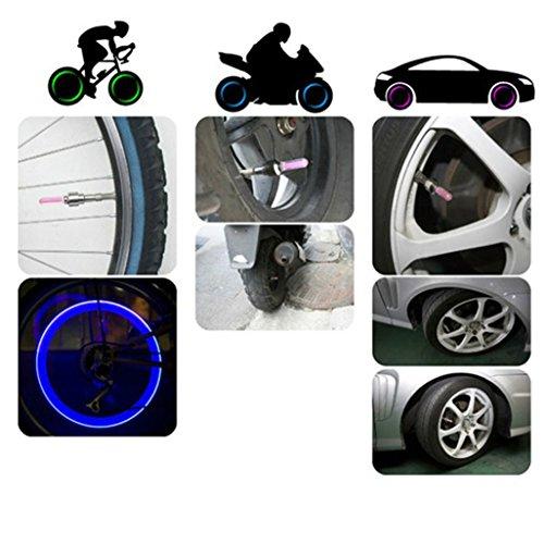 Car Tyre Light, GOTD 2pcs Bike Bicycle Motorcycle Car Wheel Tyre Tire Valve Cap LED Neon Flash Lamp Light Blue (Blue)