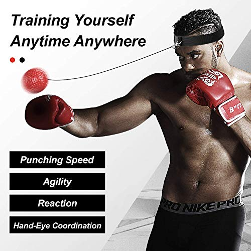 Boxing Reflex Ball Head Fight Ball Reflex on String Portable Boxing Training Ball Boxing Equipment with Headband for Training, Hand-Eye Coordination and Fitness