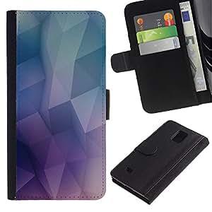 NEECELL GIFT forCITY // Billetera de cuero Caso Cubierta de protección Carcasa / Leather Wallet Case for Samsung Galaxy Note 4 IV // Patrón Geometría de neón