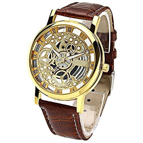 Women's Brown Roman Classic Synthetic Leather Strap Watch - 2