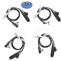 HQRP 4-Pack Oval Side Mount 1-Pin HeadSet w/ Acoustic Tube Earpiece & Mic for Motorola HT1550 / HT1550XLS / MTP850Ex / MTX8250 / MTX8250LS / MTX850 / MTX850XLS + HQRP Coaster