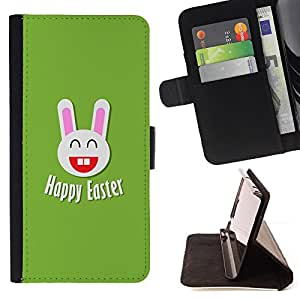 BullDog Case - FOR/Apple Iphone 6 / - / Happy Easter Bunny Rabbit /- Monedero de cuero de la PU Llevar cubierta de la caja con el ID Credit Card Slots Flip funda de cuer