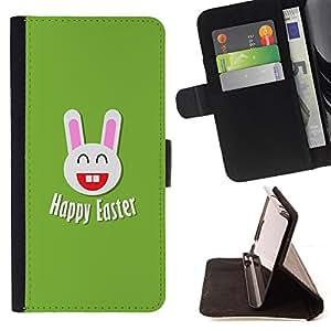 - BIG EARS EASTER RABBIT WHITE HAPPINESS - - Prima caja de la PU billetera de cuero con ranuras para tarjetas, efectivo desmontable correa para l Funny House FOR Sony Xperia m55w Z3 Compact Mini