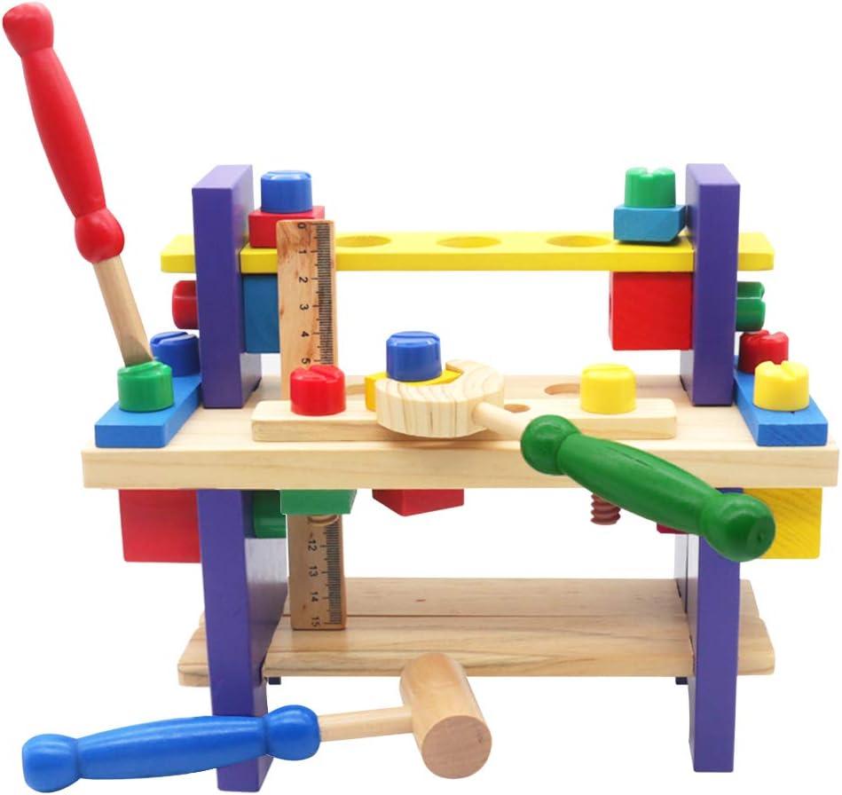 Herramientas Juguetes de Madera del Banco de Trabajo 42pcs DIY Bloques Construccion Taller Kit Herramientas PretenderJuego de Roles Juegos Educativos para Niños 3 4 5