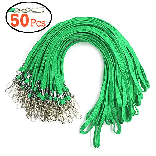 Green Lanyard Bulk Clips Swivel Hooks 50 Pack 17.5-inch Cotton Neck Flat Woven Green Lanyards with Clip for Id Badges -
